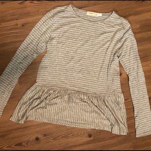 Striped long sleeve peplum cropped shirt